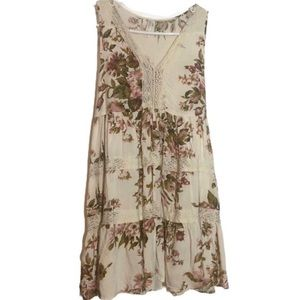 Xhilaration Tiered Cream White Lace Floral Dress M